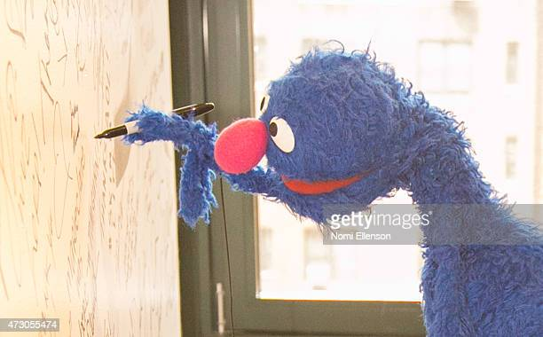 Grover attends AOL Build Speaker Series Sesame Street's Grover And The USO Dr Jeanette Betancourt And Rachel Tischlerat AOL Studios In New York on...