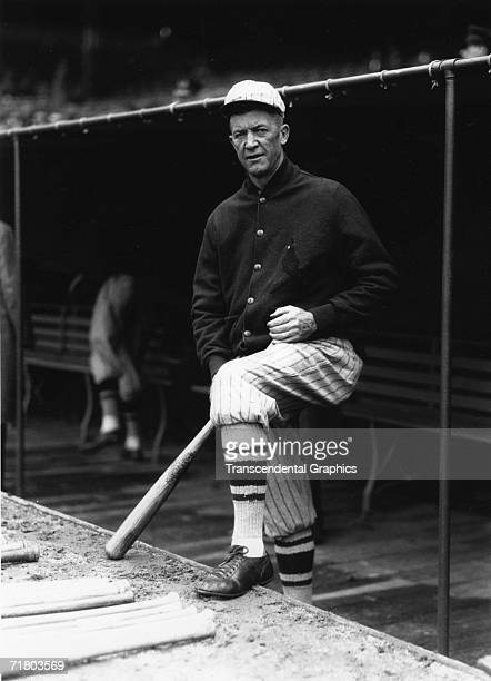 Grover Cleveland Alexander of the St Louis Cardinals poses on the dugout steps circa 1928 at Sportsmans Park in St Louis Missouri