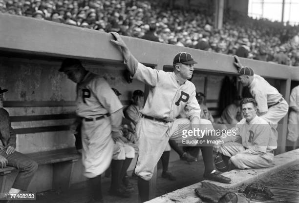 Grover Cleveland Alexander Portrait Standing on Dugout Steps with Unidentified Players Philadelphia Phillies Bain News Service 1917