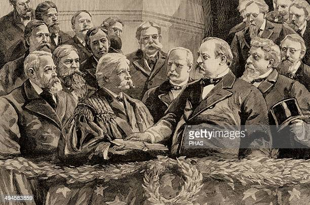Grover Cleveland President of the United States Proclamation of President Cleveland Engraving by Rico in The Spanish and American Illustration 1885