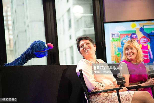 Grover Dr Jeanette Betancourt and Rachel Tischlerat attend AOL Build Speaker Series Sesame Street's Grover And The USO Dr Jeanette Betancourt And...