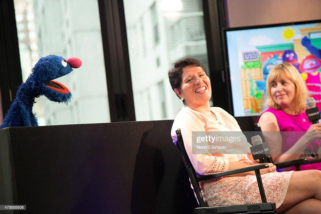 Grover, Dr. Jeanette Betancourt and Rachel Tischlerat attend AOL Build Speaker Series: Sesame Street's Grover And The USO - Dr. Jeanette Betancourt And Rachel Tischlerat AOL Studios In New York on May 12, 2015 in New York City.