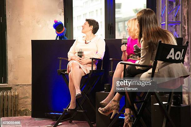 Grover Dr Jeanette Betancourt Rachel Tischlerat and Dr Karen Latimer attend AOL Build Speaker Series Sesame Street's Grover And The USO Dr Jeanette...