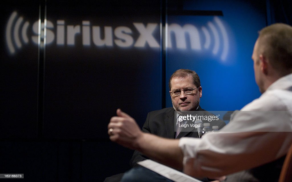 Grover Norquist, President, Americans for Tax Reform, is interviewed by SiriusXM Patriot host Andrew Wilkow at SiriusXM Studio on March 5, 2013 in Washington, DC.