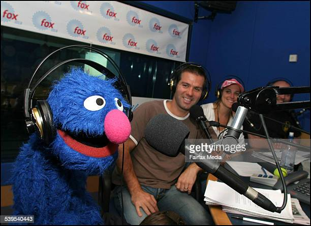 Grover the muppet at Fox fm Breakfast team Matt Tilley Jo Stanley and Adam Richard 7th March 2005 AGE METRO Picture by CATHRYN TREMAIN