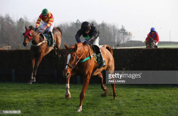 Grow Nasa Grow ridden by Sean Quinlan clears the last fence on their way to winning the Racing UK Profits Returned To Racing Handicap Steeple Chase...