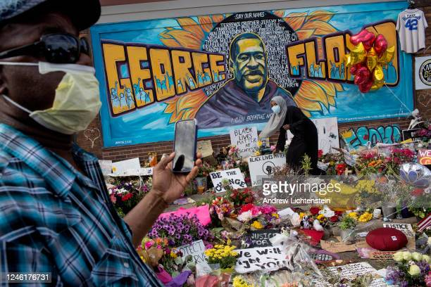 Growing memorial site at the spot where George Floyd was killed by a police officer has become a gathering spot for the Minneapolis community...
