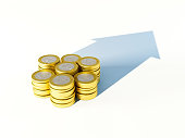 growing stack of coins for finance and banking concept