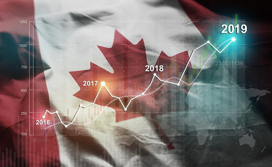 Growing Statistic Financial 2019 Against Canada Flag 1077061924