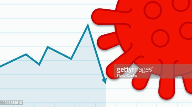 growing stock market graph being blocked by coronavirus illustration - covid icons stock pictures, royalty-free photos & images