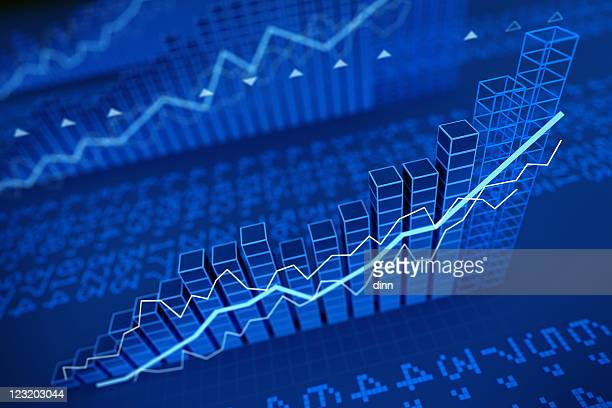 growing stock values diagrams - 3d render - moving up stock pictures, royalty-free photos & images