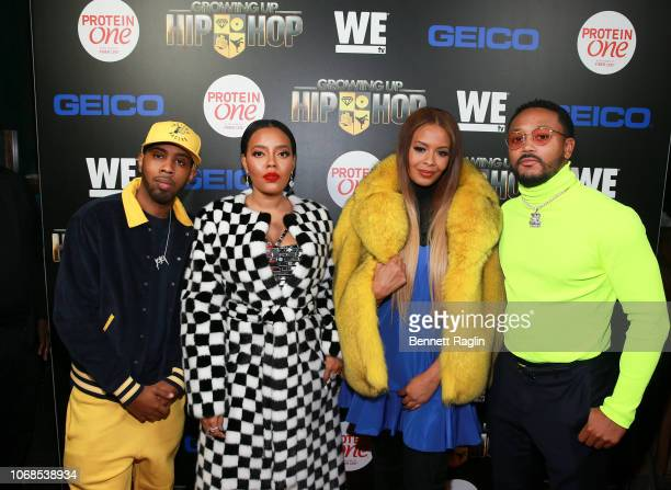 """Growing up Hip Hop cast members Jojo Simmons, Angela Simmons, Vanessa Simmons, and Romeo Miller attend the """"Growing Up Hip Hop"""" season 4 party on..."""