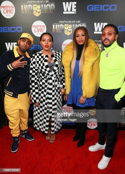 Growing up Hip Hop cast members Jojo Simmons Angela Simmons Vanessa Simmons and Romeo Miller attend the 'Growing Up Hip Hop' season 4 party on...