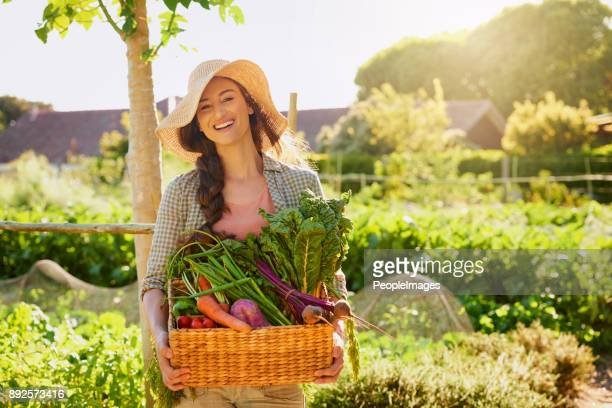 grown by mother nature herself - basket stock photos and pictures