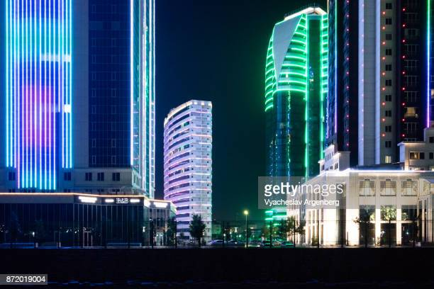 grozny city skyscrapers at night - chechnya stock pictures, royalty-free photos & images
