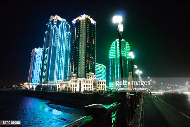 grozny-city towers at night - chechnya stock pictures, royalty-free photos & images