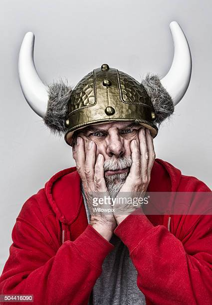 Grubby Horned Helmet Armor Gray Beard Senior Man