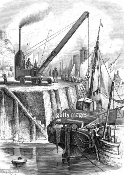 Grue locomobile à vapeur déchargeant un bateau dans un port, en 1861.