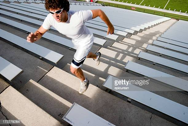 Grueling workout on stadium stairs