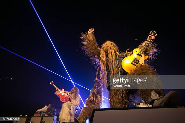 Gruff Rhys Guto Pryce and Huw Bunford of Super Furry Animals performs at the Olympia Theatre on December 1 2016 in Dublin