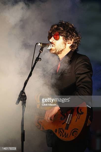 Gruff Rhys of the Super Furry Animals performs before the Gary Speed Memorial International Match between Wales and Costa Rica at the Cardiff City...