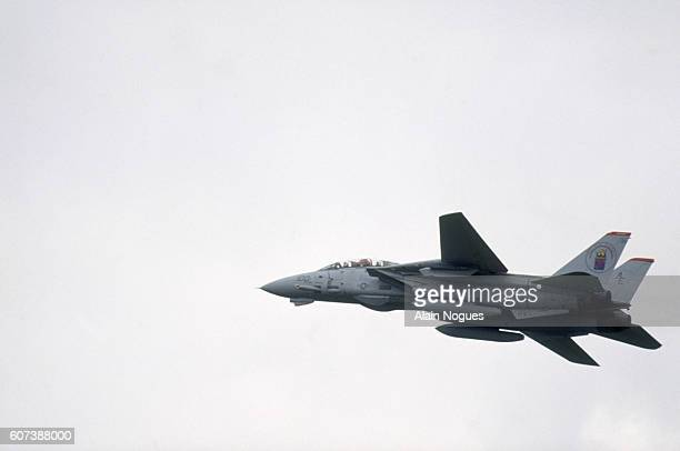 A Grumman F14 Tomcat flies overhead at the 1991 Paris Air Show The international aeronautics fair is held every other year in Le Bourget France