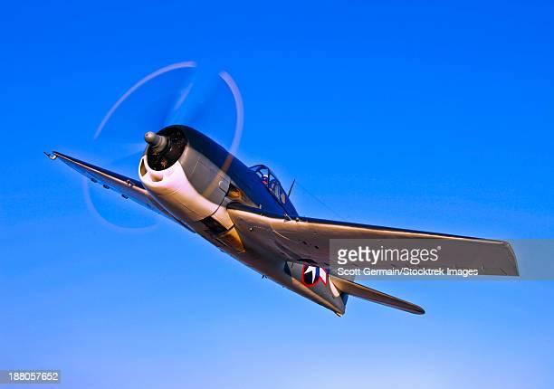 A Grumman F6F-3 Hellcat in flight near Chino, California.