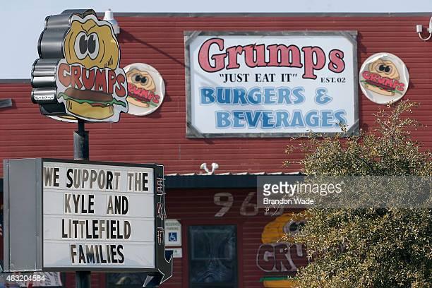 Grumps Burgers and Beverages show their support for Chris Kyle's and Chad Littlefield's families on their street sign February 11 2015 in...
