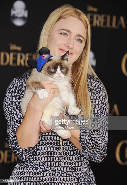 Grumpy Cat arrives at the World Premiere of Disney's 'Cinderella' at the El Capitan Theatre on March 1, 2015 in Hollywood, California.