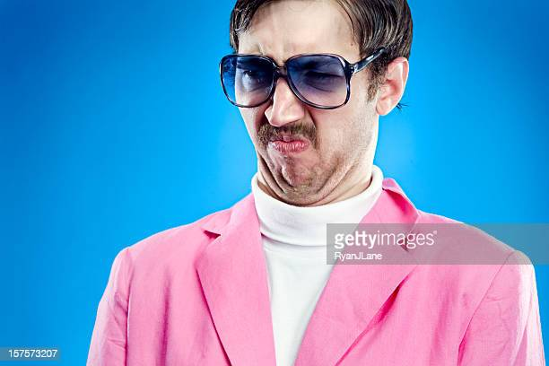 grumpy pastel retro man - wardrobe malfunction stock pictures, royalty-free photos & images