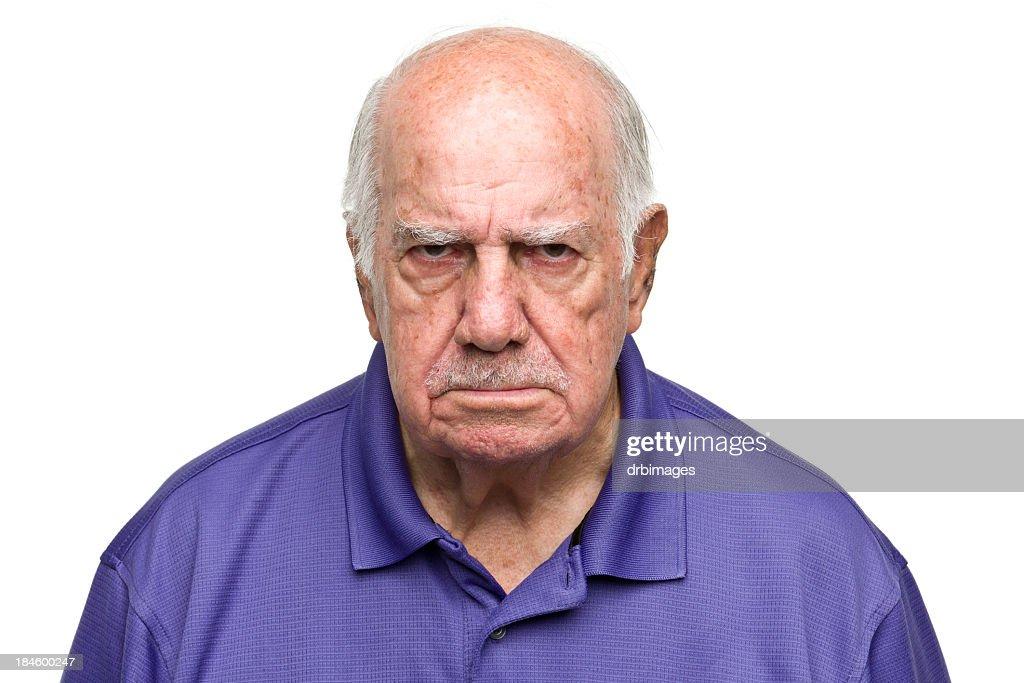 Grumpy Senior Man : Stock Photo