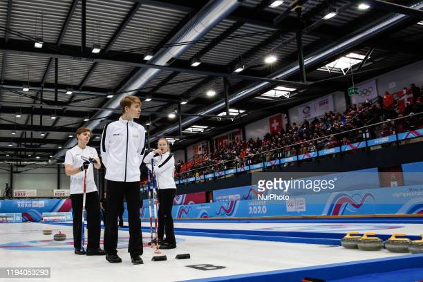 Grunde HOESTMAELINGEN Lukas and FORBREGD Ingeborg from Norway the Gold Medal winners compete in gold medal game in Curling Mixed Team on 7 day of...