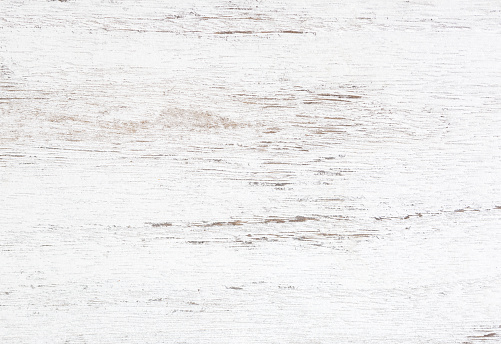 Grunge background. Peeling paint on an old wooden table. White wooden texture for background.  Top view. 1126385133