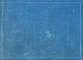 Grunge blue print texture with white line border