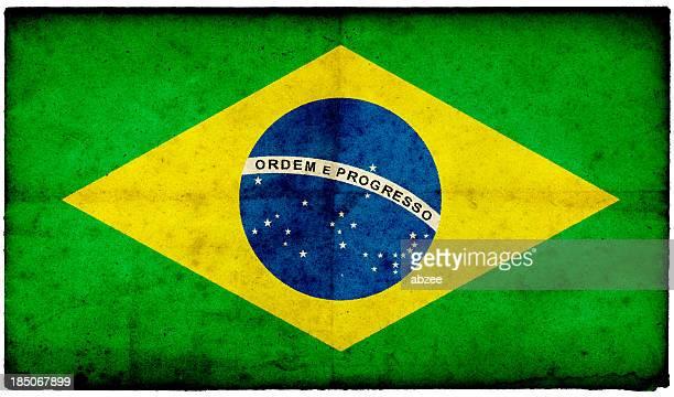 Grunge Bandeira Brasileira no jogo edged antigo Cartão Postal