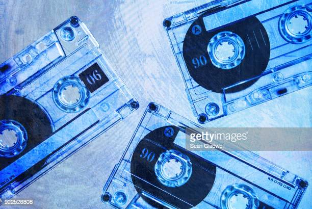 grunge cassette tapes blue - 1980 stock pictures, royalty-free photos & images