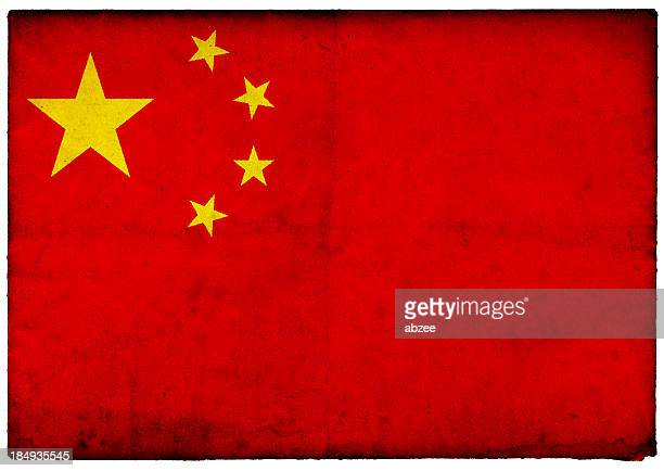 Grunge Chinese Flag on rough edged old postcard