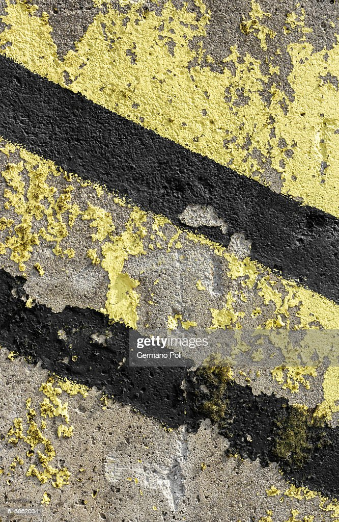 Grunge diagonal warning stripe : Stock Photo