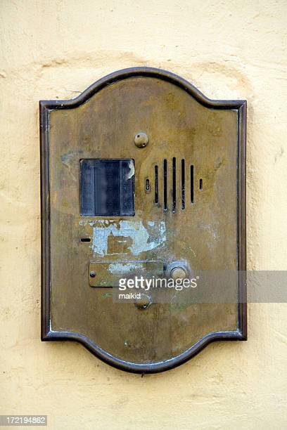grunge doorbell in tuscany - nameplate stock pictures, royalty-free photos & images