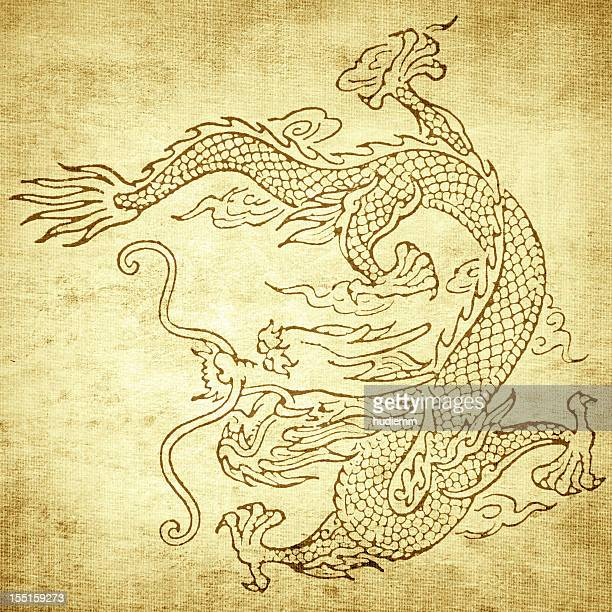 grunge dragon background - chinese dragon stock photos and pictures