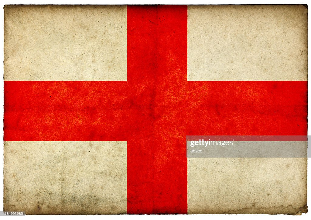Grunge English Flag on rough edged old postcard : Stock Photo