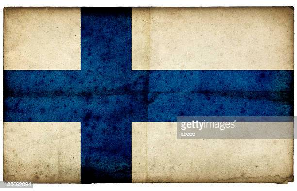 grunge finland flag on rough edged old postcard - finnish flag stock photos and pictures