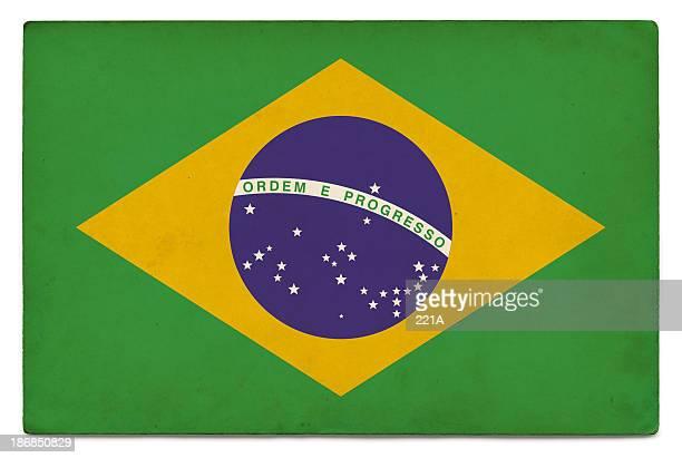 Grunge Flagge von Brasilien auf Weiß