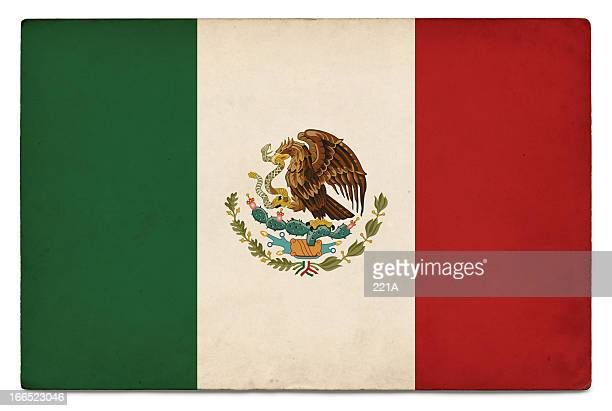 Grunge flag of Mexico on white