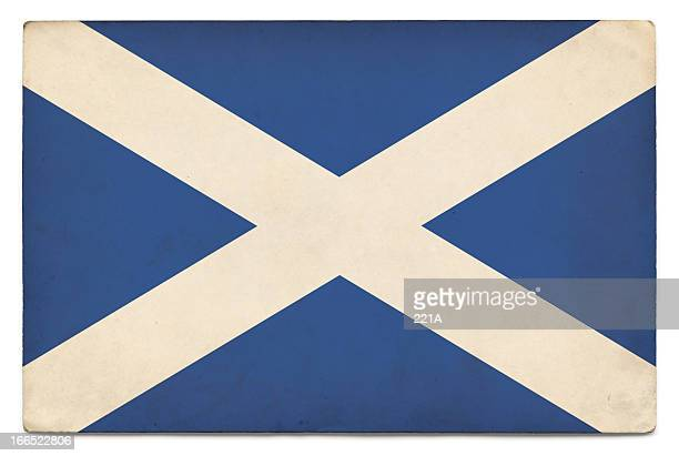 grunge flag of scotland on white - scotland flag stock photos and pictures