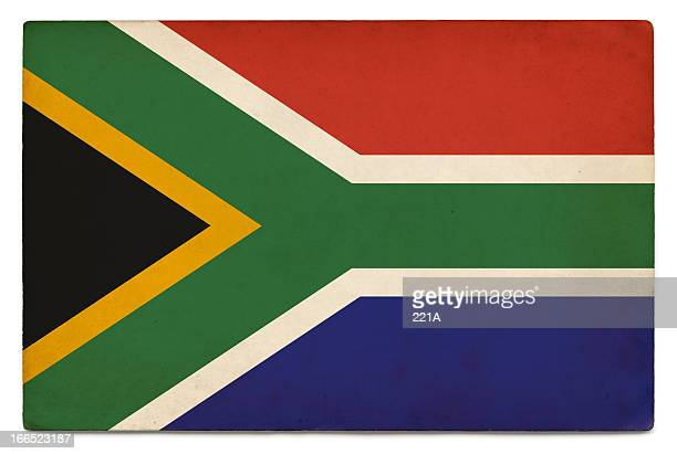 grunge flag of south africa on white - south african flag stock photos and pictures