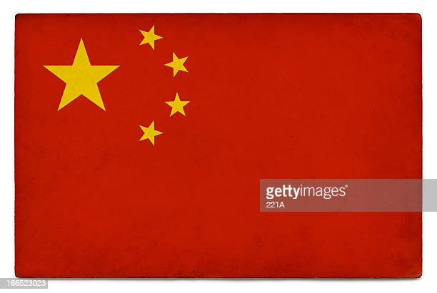 grunge flag: people's republic of china on white - chinese flag stock pictures, royalty-free photos & images