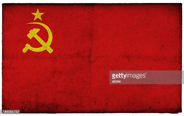Grunge Former Soviet Union Flag on rough edged old postcard