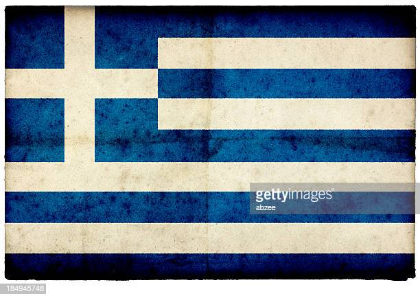Grunge Greek Flag on rough edged old postcard