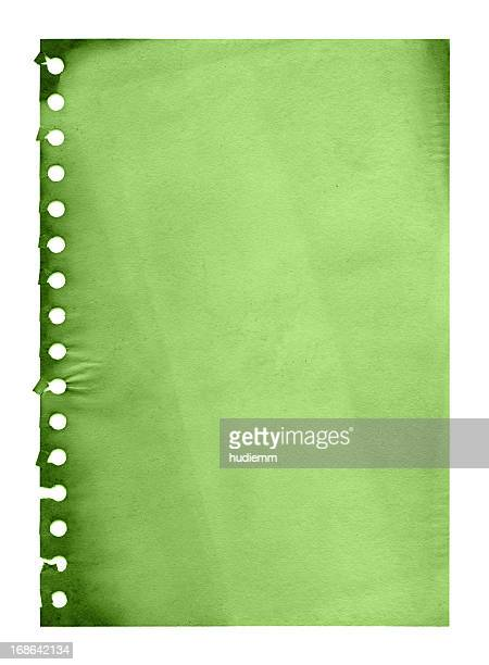 Grunge green notepad page paper textured background